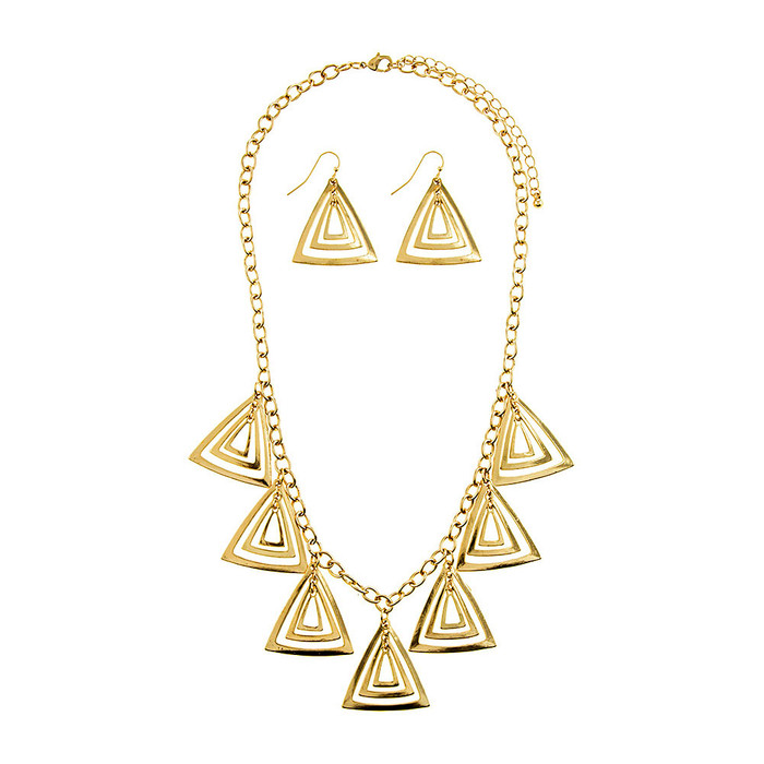 Golden Triangle Charm Necklace and Drop Earring Set