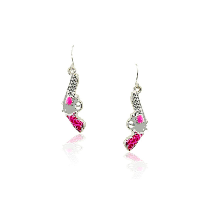 Silver Revolver and Pink Enamel Drop Earrings