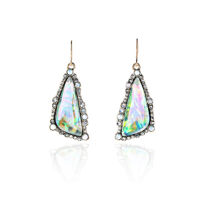 Bezeled Opalescent Triangle Cabochon Drop Earrings