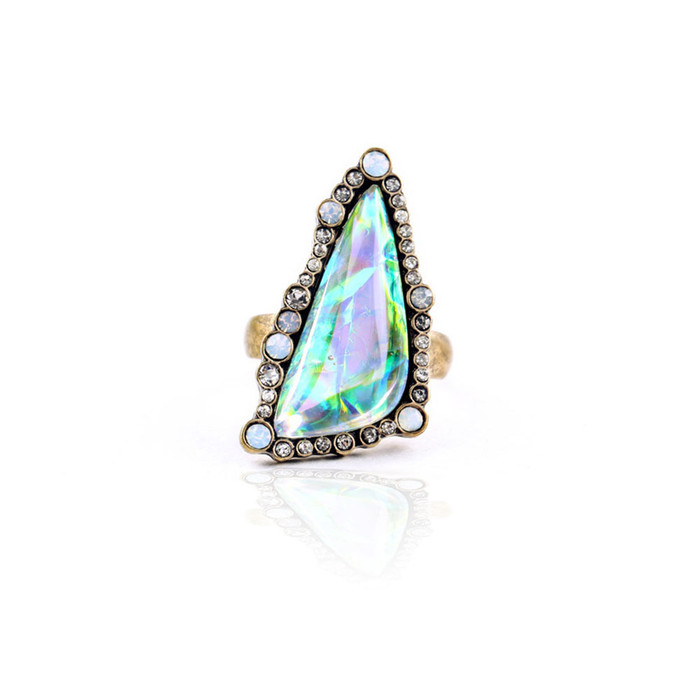 Bezeled Opalescent Triangle Cabochon Ring (Size 6)