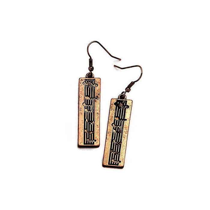Antiqued Golden Rectangle Sheet Music Drop Earrings