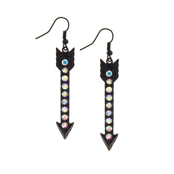 Black Arrow Drop Earrings with Aurora Borealis Crystals