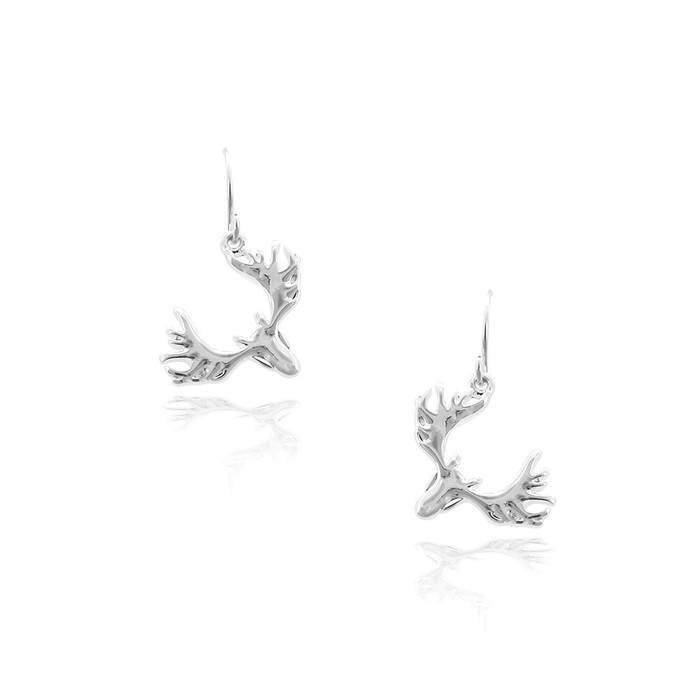 Silver Deer/Elk/Moose Head Drop Earrings