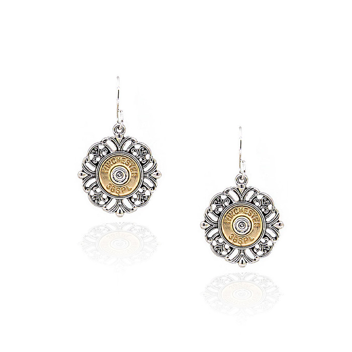 Antiqued Golden Bullet Drop Earrings with Silver Filigree