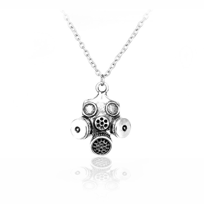 Antiqued Silver Gas Mask Necklace