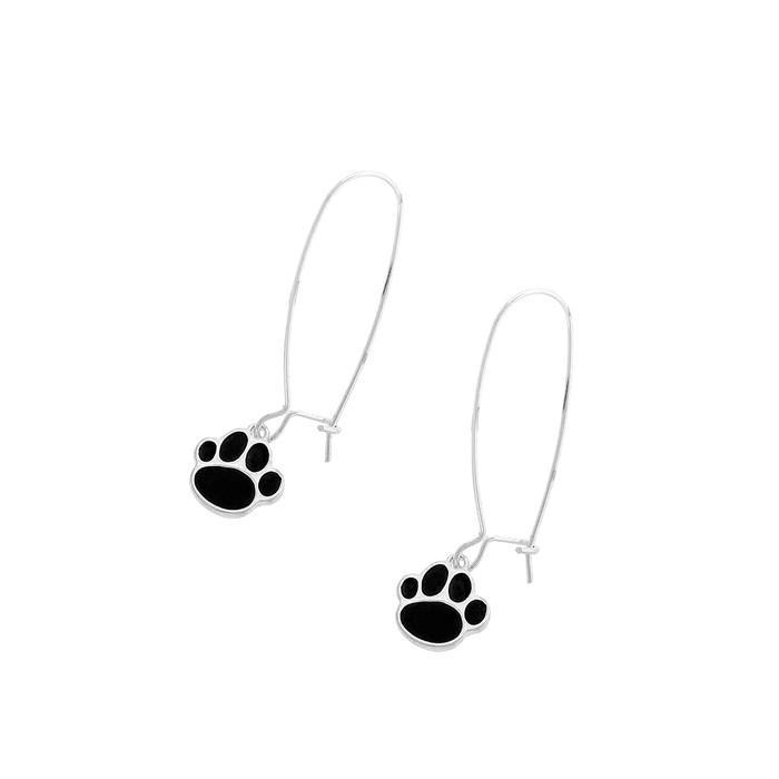 Silver and Black Enameled Paw Print Long-Hook Earrings