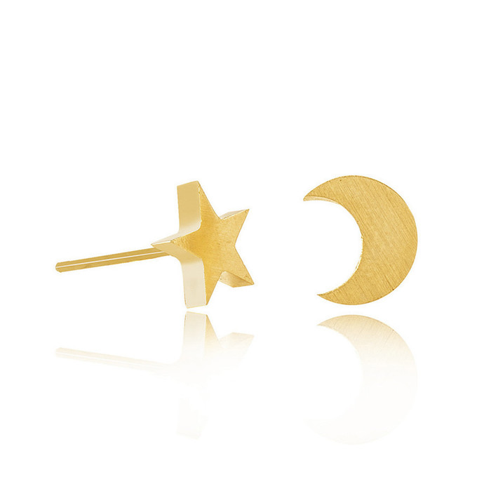 Golden Star and Moon Post Earrings