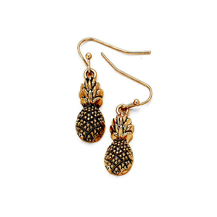 Antiqued Golden Pineapple Drop Earrings