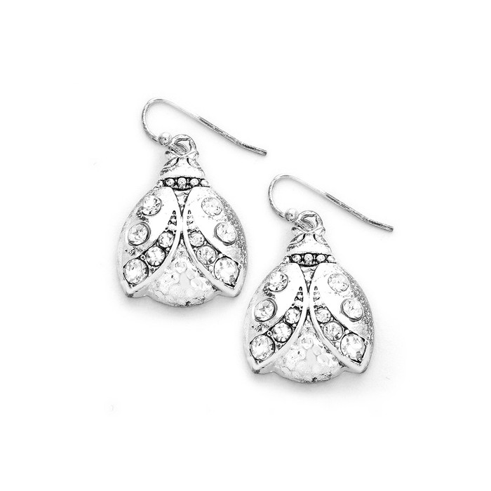 Bejeweled Silver Ladybug Drop Earrings