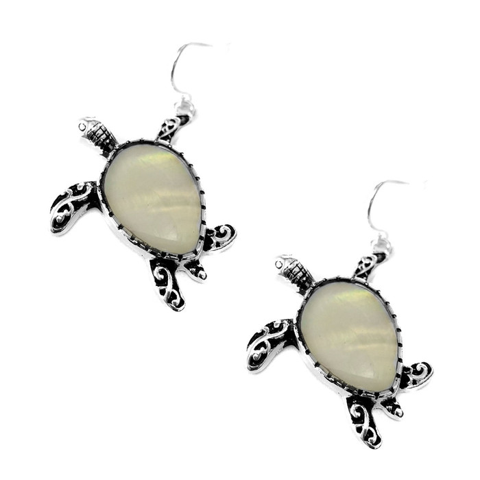 Antiqued Silver Filigree Sea Turtle Drop Earrings with Mother Of Pearl Center