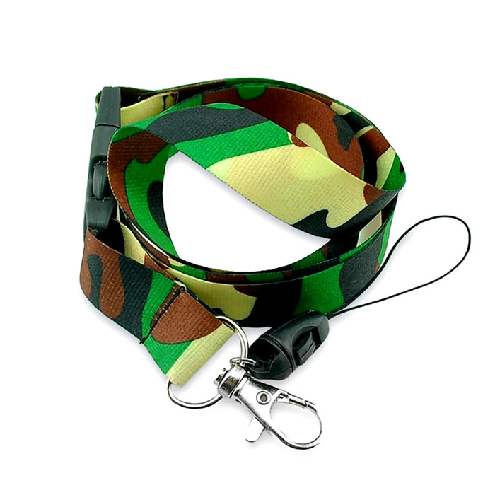 Green Camouflage Fabric Lanyard Necklace with 2 ID/Badge/Card Holders