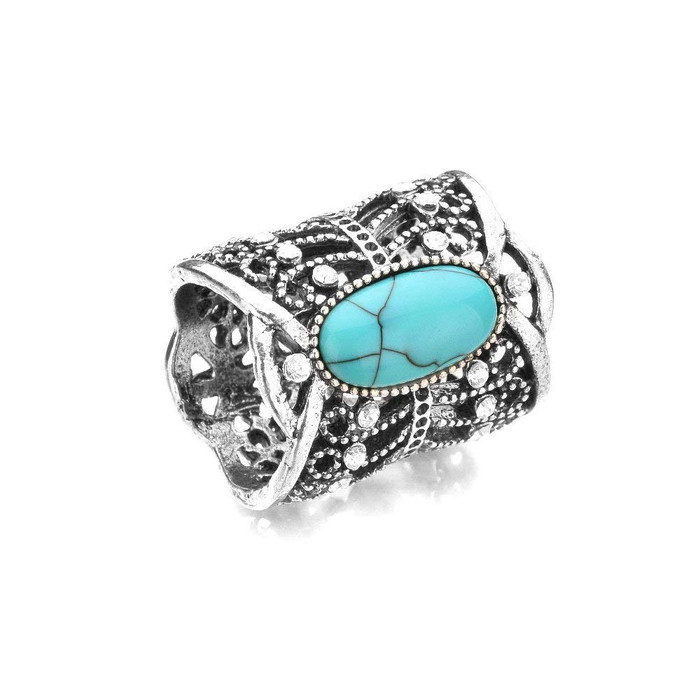Bejeweled Antiqued Silver Scarf Ring with Turquoise Cabochon