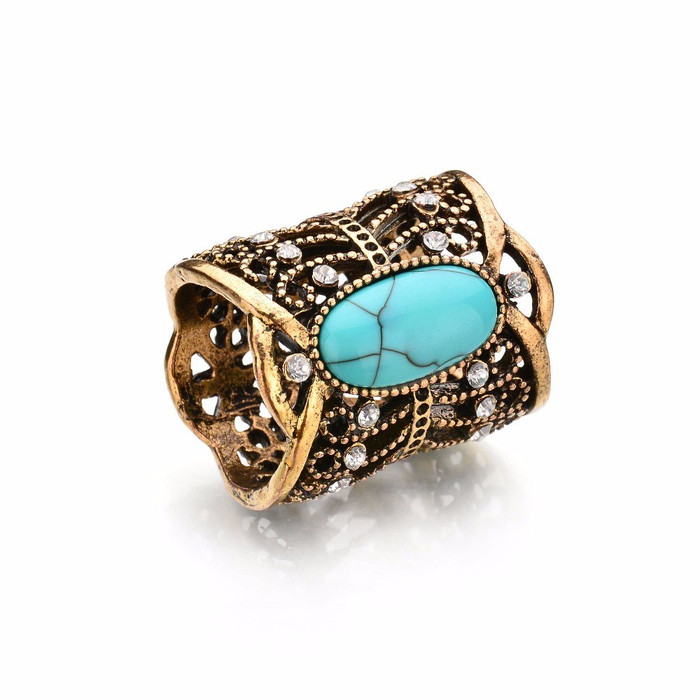 Bejeweled Antiqued Golden Scarf Ring with Turquoise Cabochon