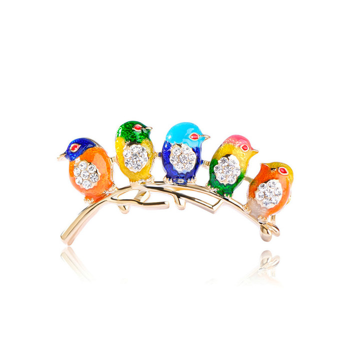 """Five Little Birds"" Deluxe Bejeweled and Enameled Pin"