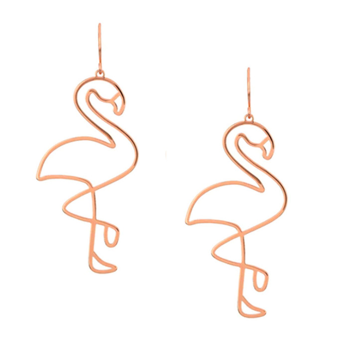 Copper Wire Outline Flamingo Drop Earrings