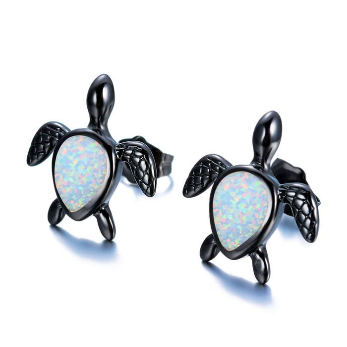 Gunmetal & White Opal Sea Turtle/Honu Post Earrings