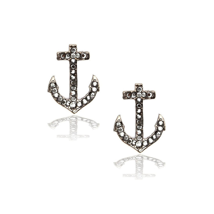 Gunmetal Anchor Post Earrings with Metallic Crystals