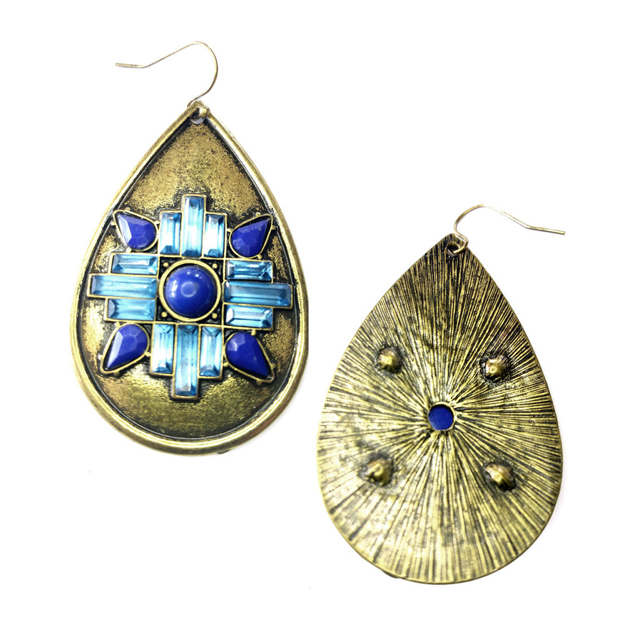 Antiqued Gold Teardrop Earrings with Blue Crystal Detail