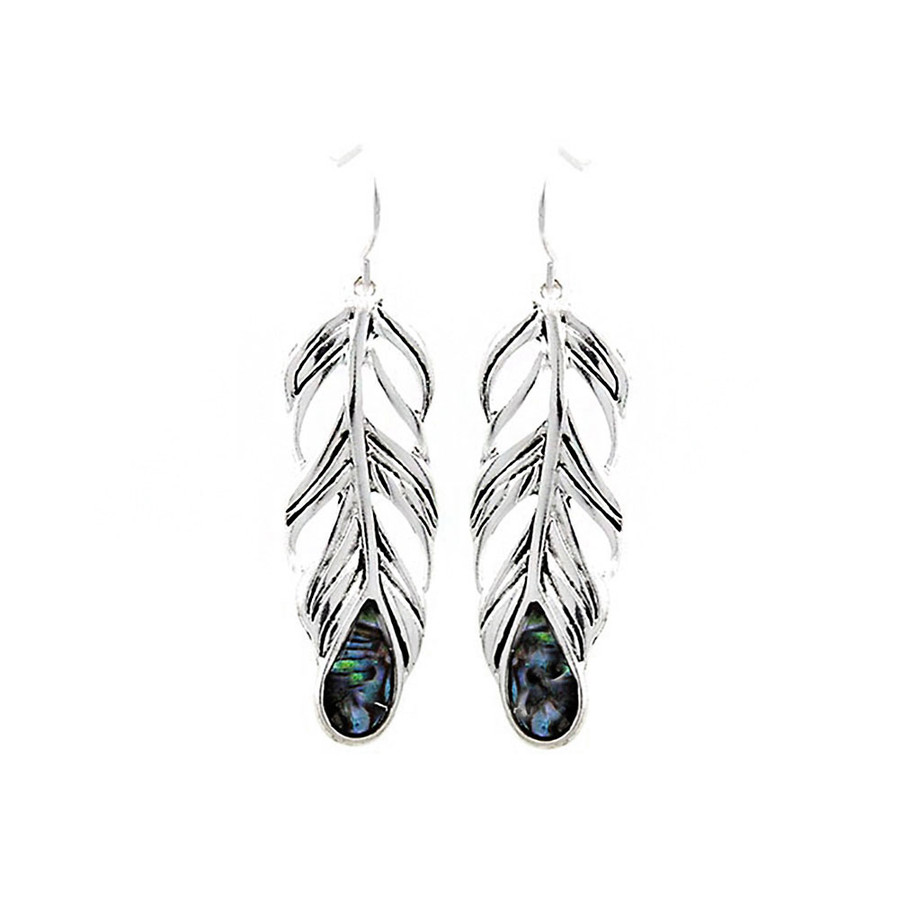 Antiqued Silver Feather Drop Earrings with Abalone Teardrop Inlay