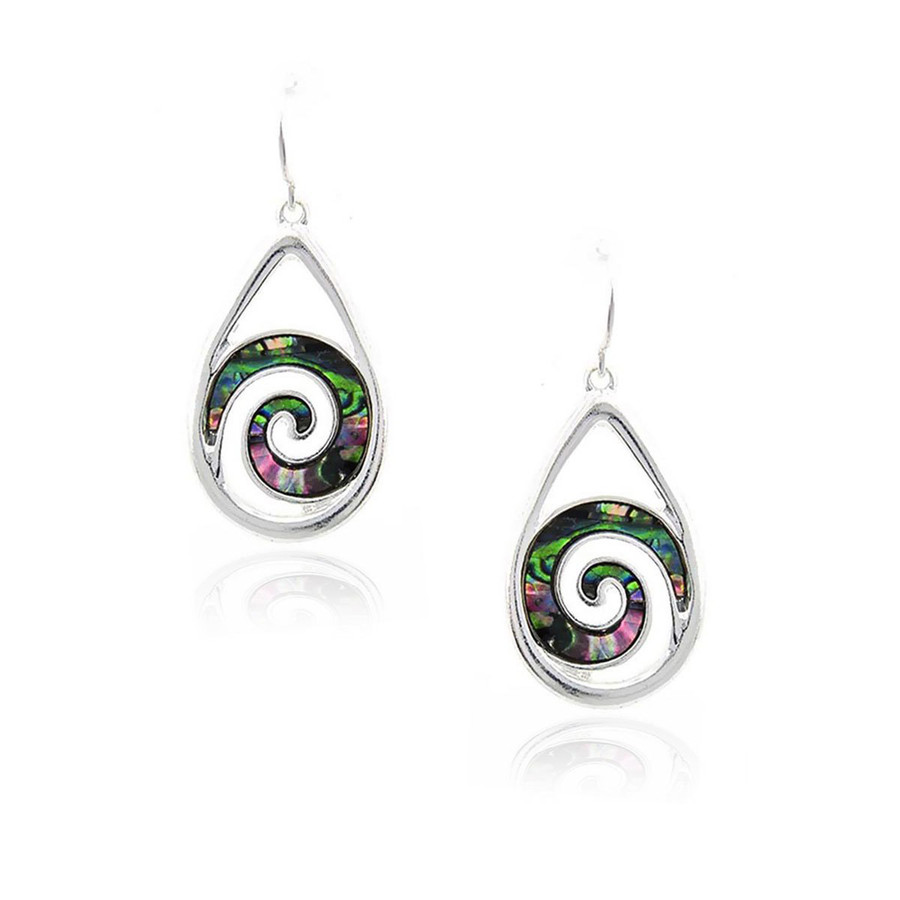 Silver Teardrop Earrings with Abalone Spirals
