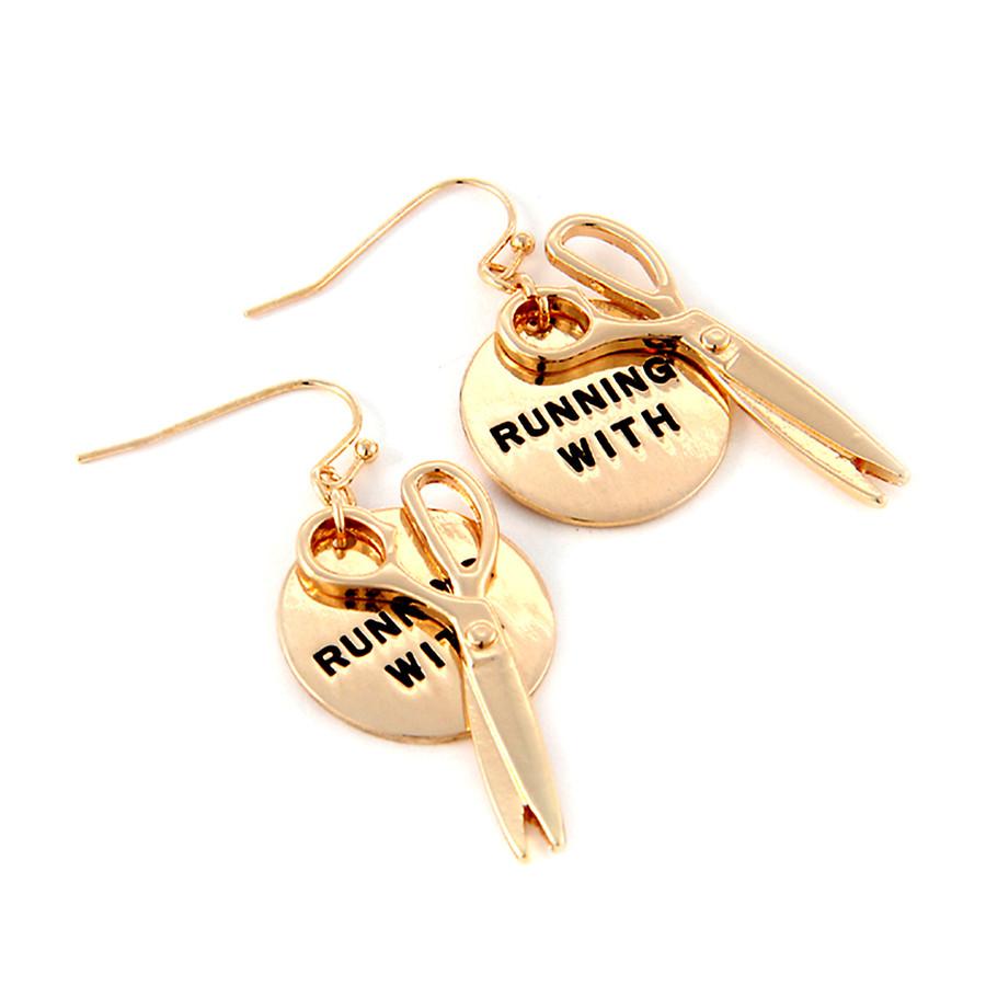 Golden 'Running with Scissors' Earrings