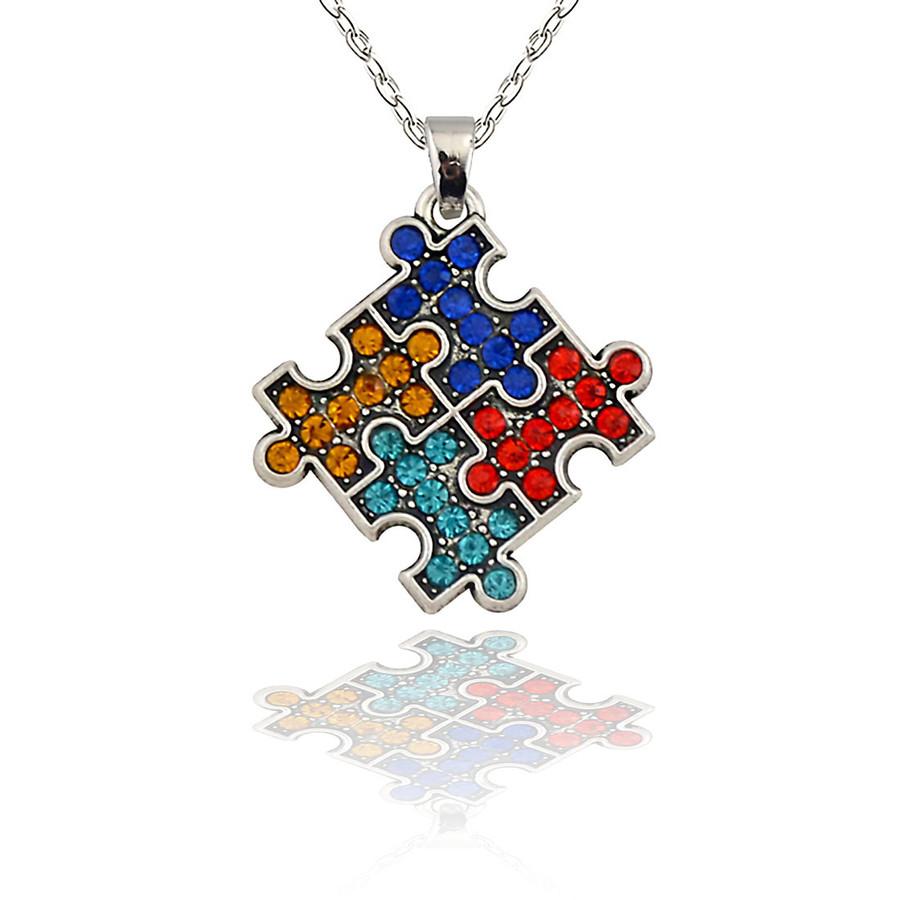 Color Crystal Puzzle Piece Autism Awareness Necklace