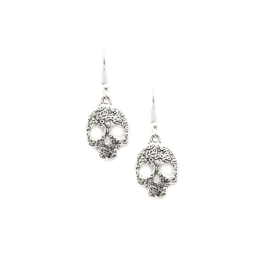 Silver Sugar Skull Drop Earrings with Floral Pattern