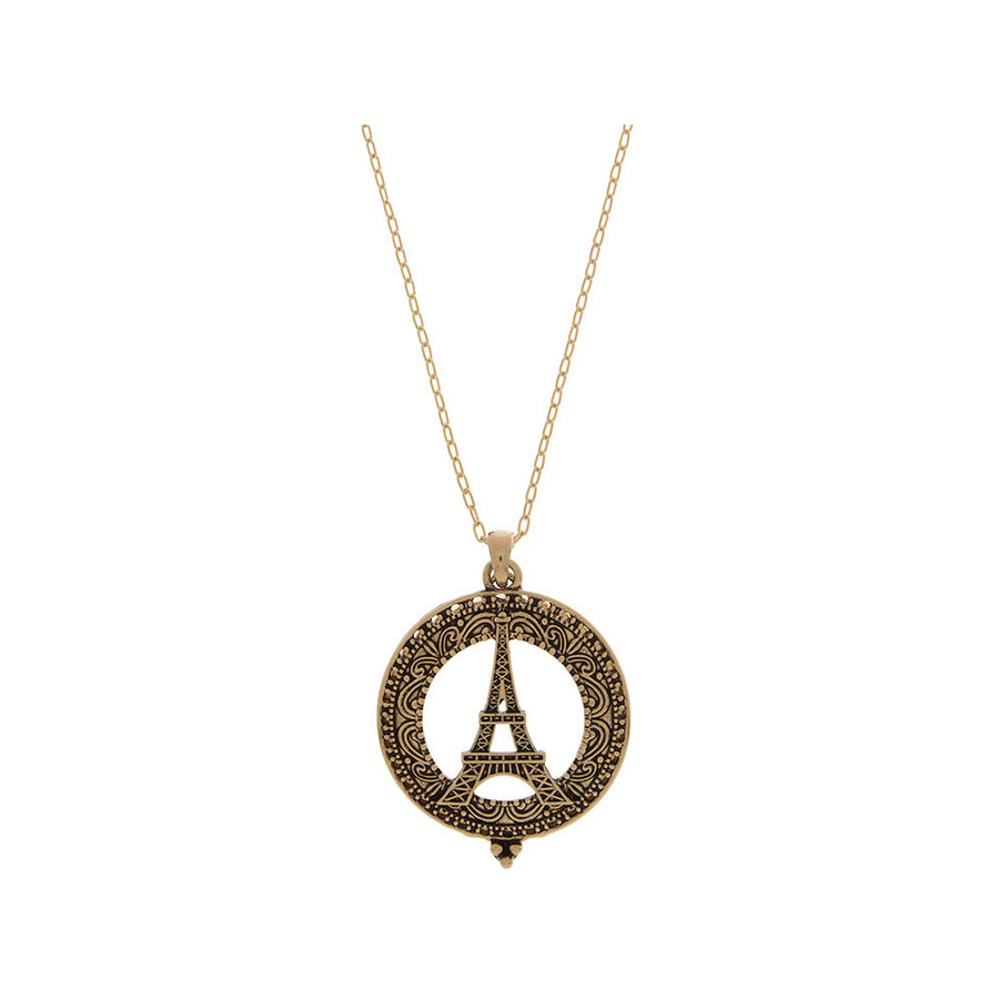 Antiqued Golden Eiffel Tower Magnifying Glass Necklace