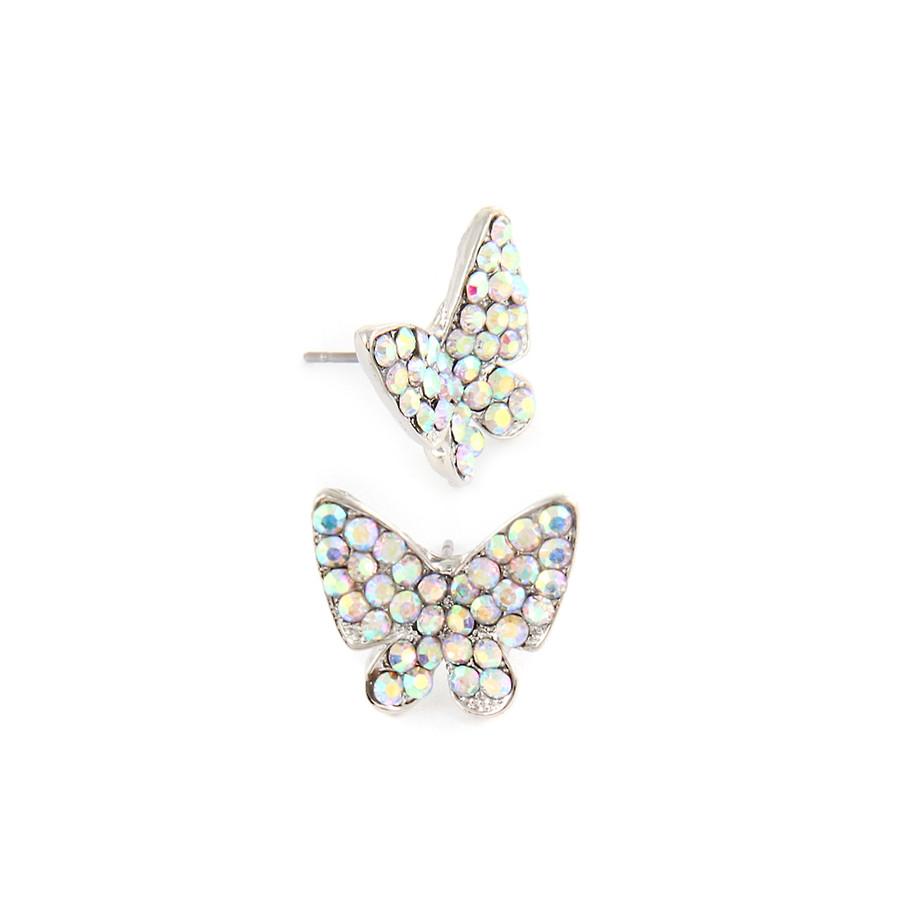 Aurora Borealis Butterfly Post Earrings