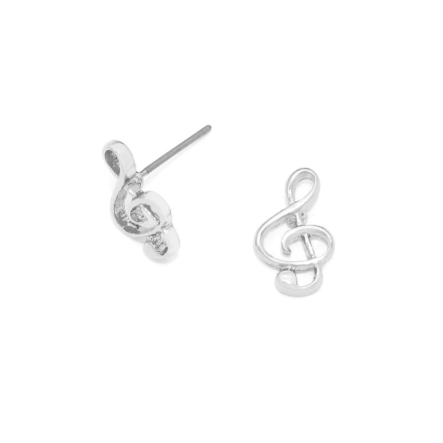 Mini Silver Treble Clef Post Earrings