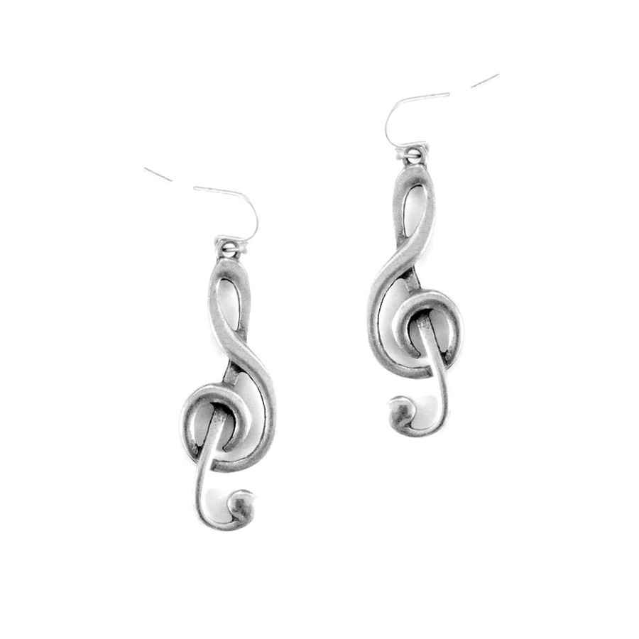 Antiqued Silver Treble Clef Drop Earrings