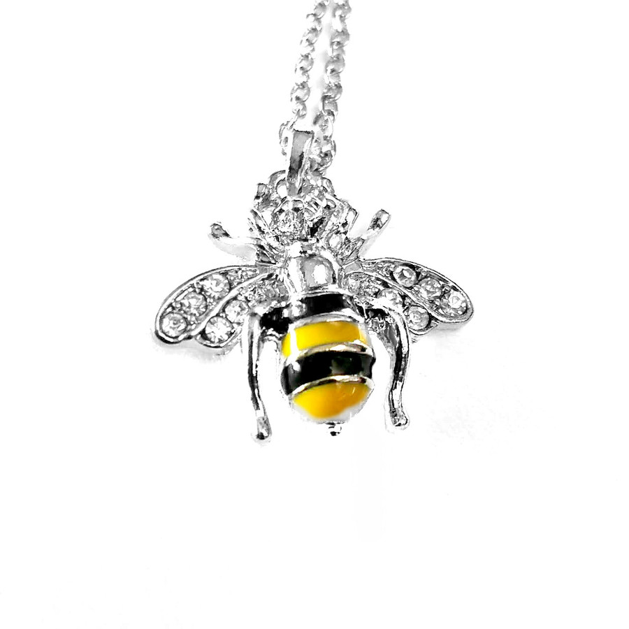 Enameled Silver Bee Necklace with Crystal Detail