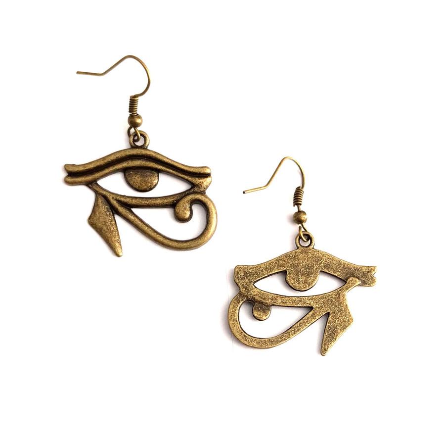 Antiqued Gold Eye Of Horus Egyptian Drop Earrings