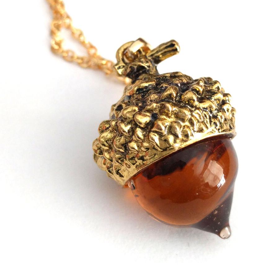 Golden Amber Glass Acorn Pendant Necklace