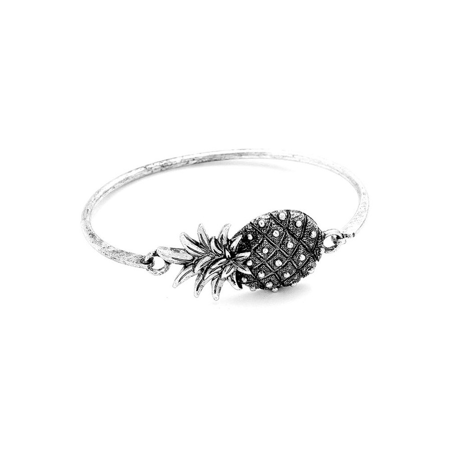Antiqued Silver Pineapple Bangle