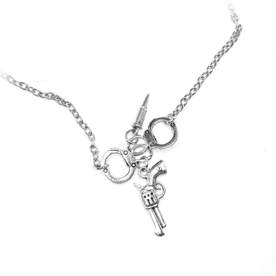 Silver Handcuff and Revolver/Pistol and Bullet Necklace