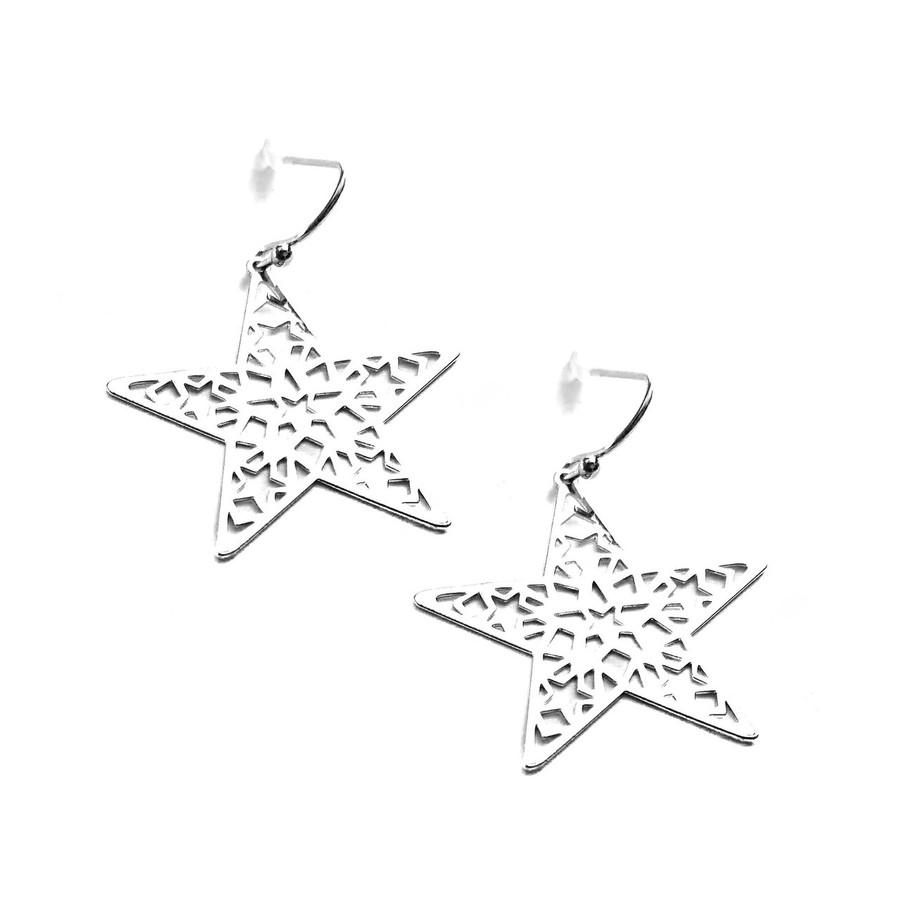 Silver Feather-Light Cutout Star Drop Earrings