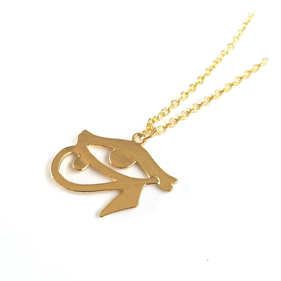 Bright Gold Egyptian Eye Of Horus Necklace
