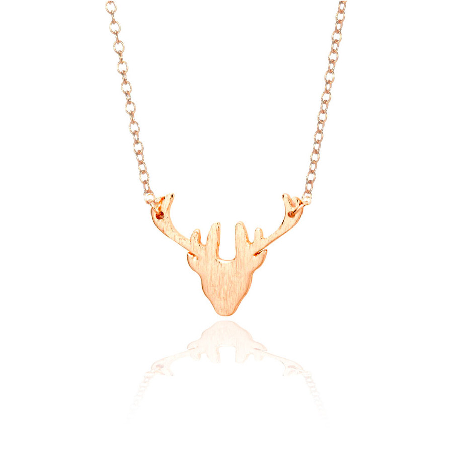 Golden Mini Deer Head Necklace with Brushed Texture