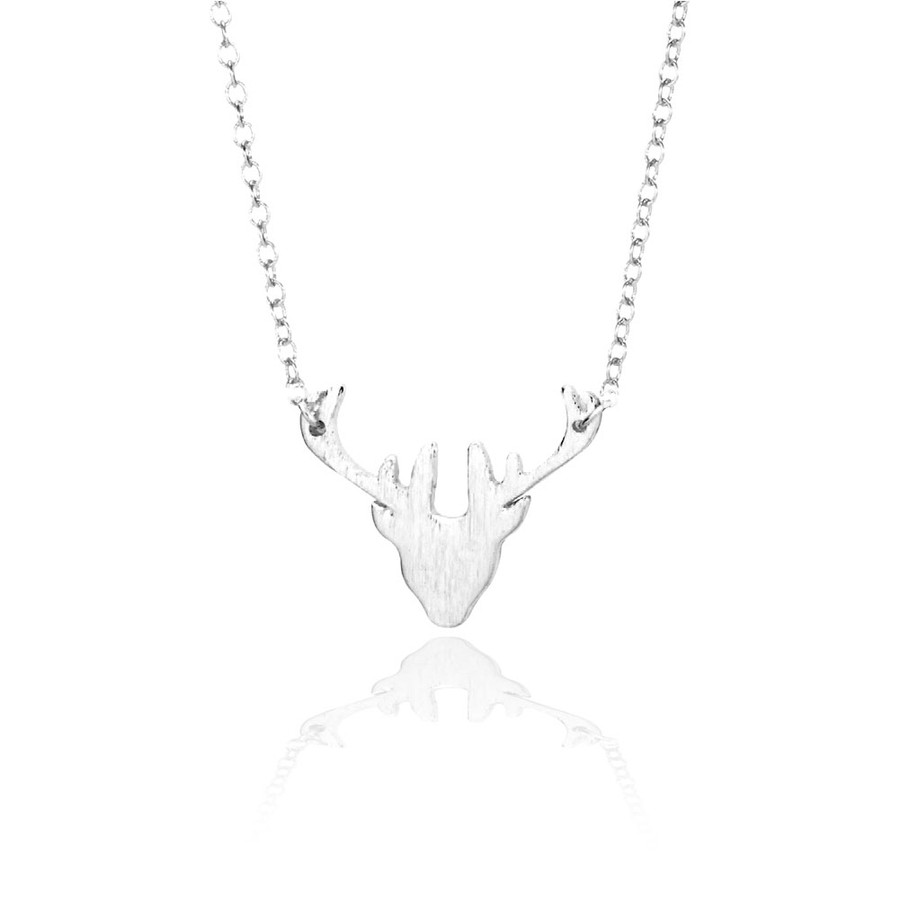 Silver Mini Deer Head Necklace with Brushed Texture