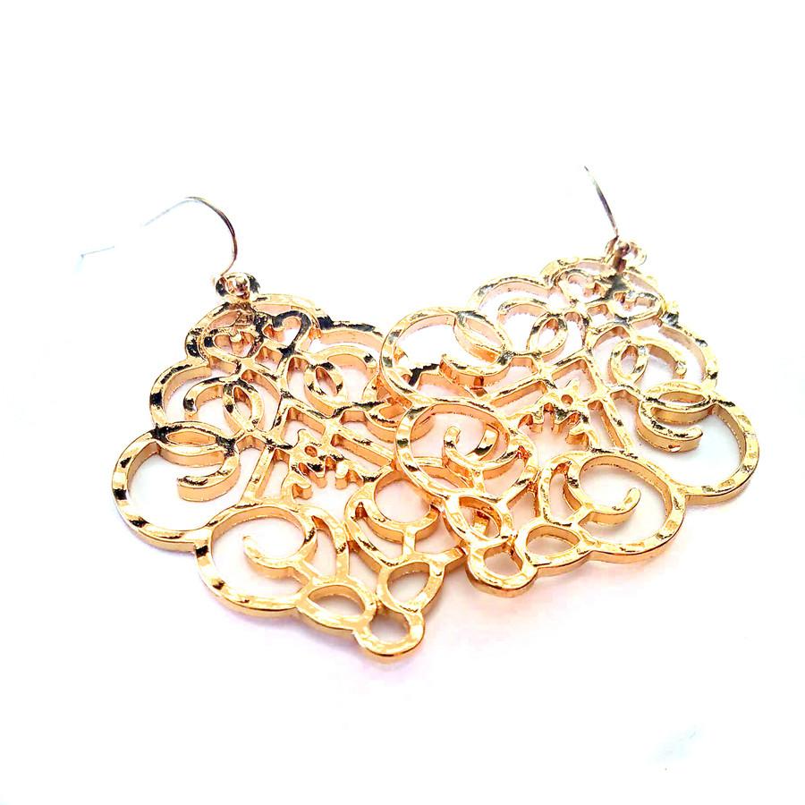 Golden Scrolling Drop Earrings