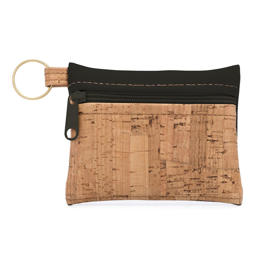 """""""Be Organized"""" Handmade Key Chain Pouch   Natural Cork + Black Faux Leather"""