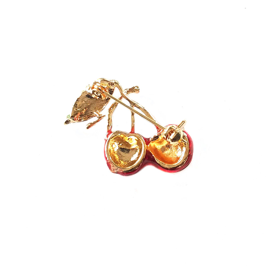 Enameled Twin Cherry Pin with Crystal Detail