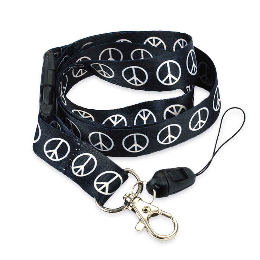 Black and White Peace Sign Fabric Lanyard Necklace with Quick Release and 2 ID/Badge/Card Holders