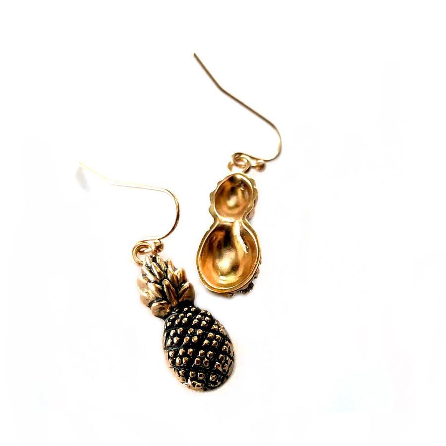 Antiqued Golden Pineapple Drop Earrings