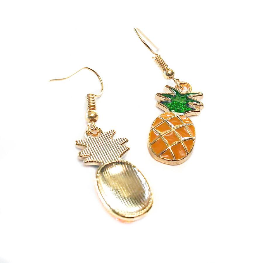 Enameled Golden Pineapple Drop Earrings