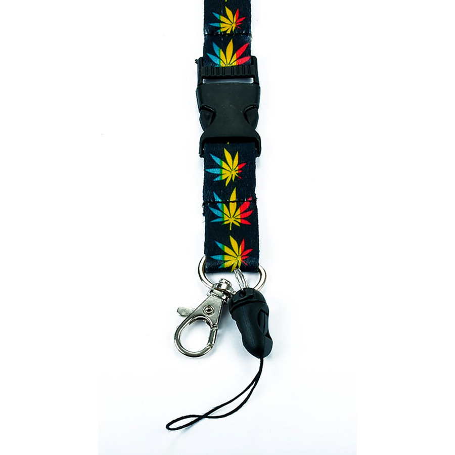 Black with Cannabis/Hemp Pattern Fabric Lanyard with Quick Release and 2 ID/Badge/Card Holders