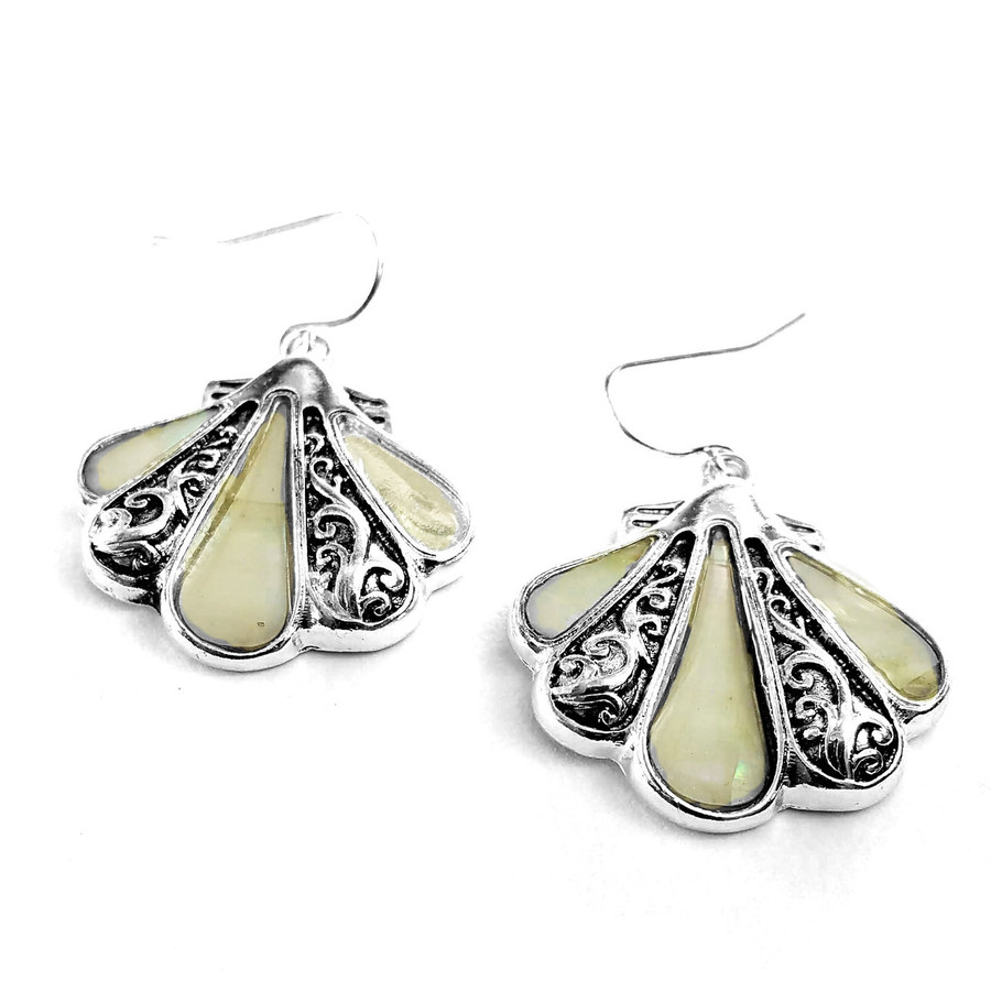 Silver Filigree Shell Drop Earrings with Mother-Of-Pearl