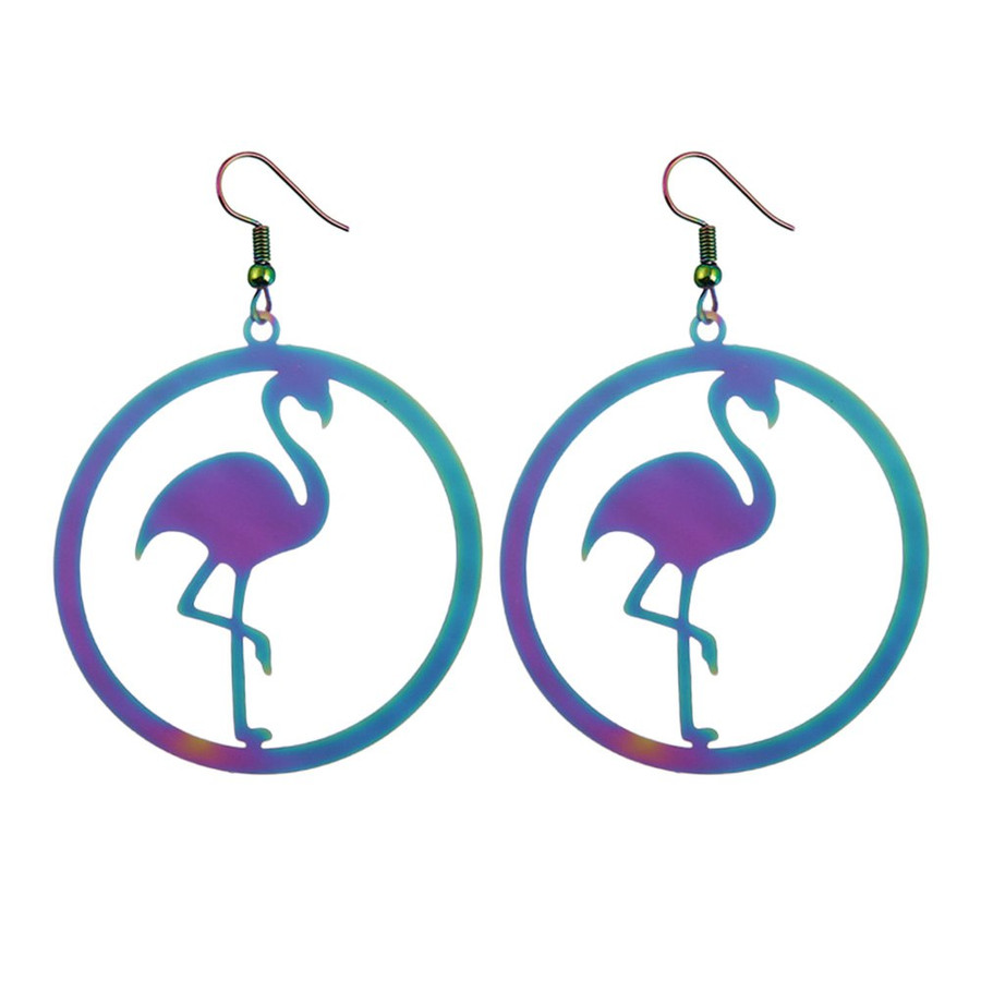Feather-Light Anodized Flamingo Silhouette Drop Earrings
