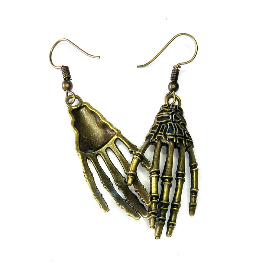 Antiqued Gold Skeleton Hand Drop Earrings